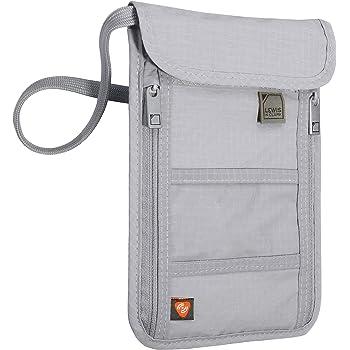 Lewis N. Clark RFID Blocking Stash Neck Wallet, Travel Pouch + Passport Holder for Women & Men, Gray, One Size