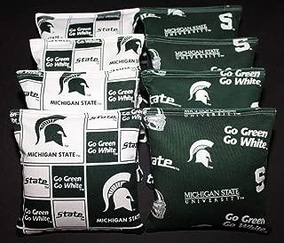 BackYardGamesUSA 8 Cornhole BEANBAGS Made w Michigan State Unv Spartans Fabric ACA Reg Bags