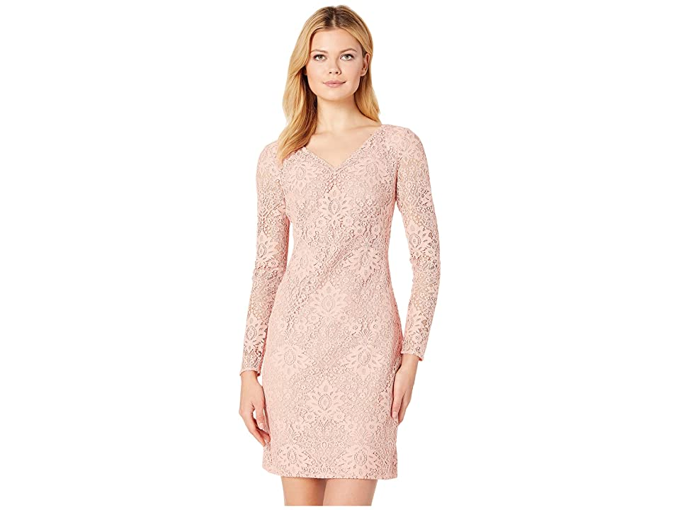 LAUREN Ralph Lauren 155H Aura Floral Lace Lontie Long Sleeve Day Dress (Peche Blossom 2) Women