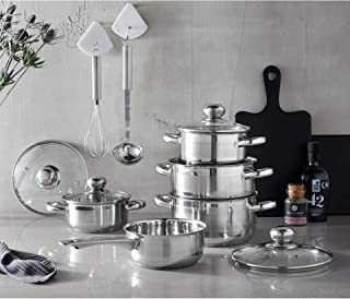 GSW 806572 Silver Star - Batería de cocina (11 piezas, acero inoxidable y cristal), color plateado
