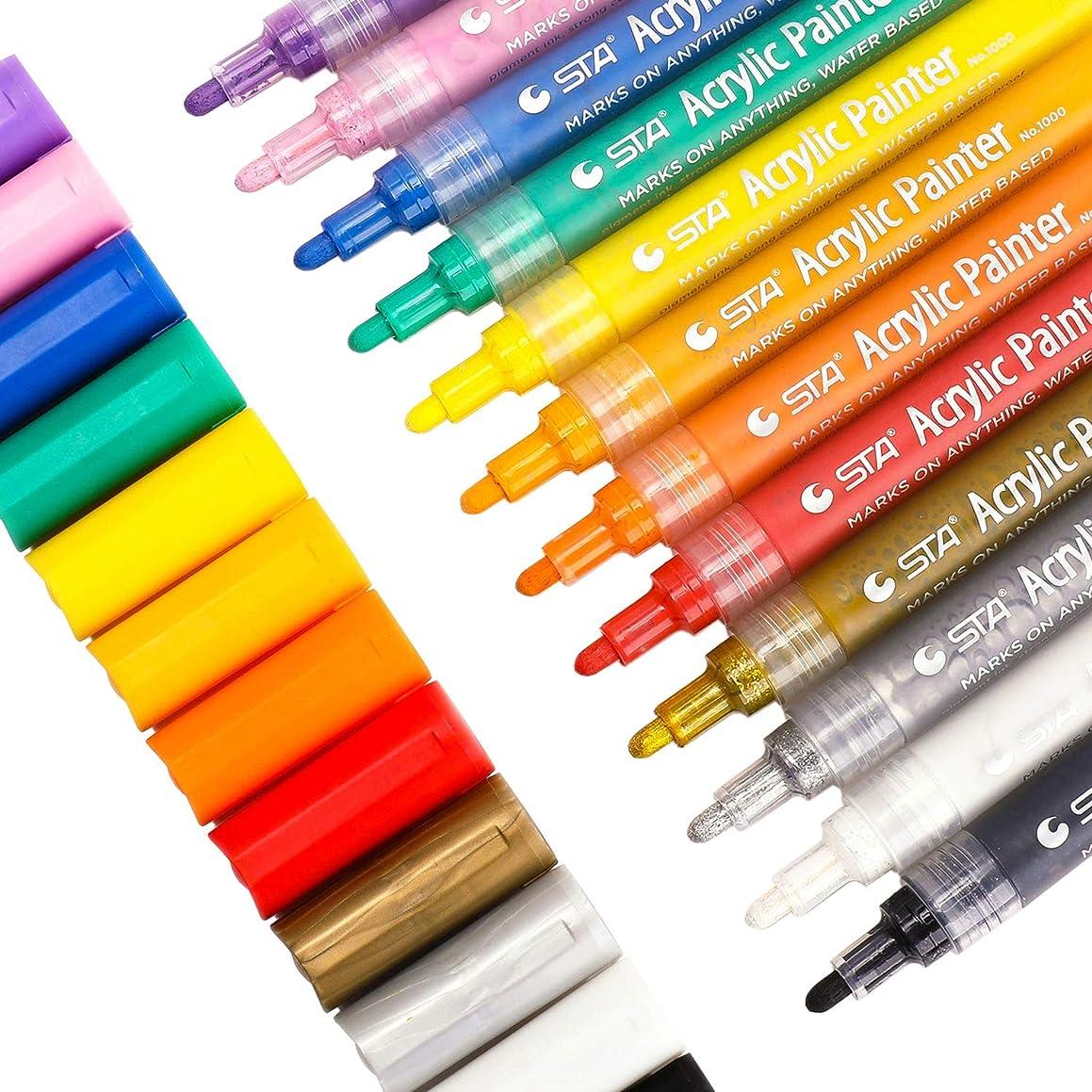 Paint Pens for Rock Painting, Canvas, Fabric, Wood, Ceramic, Glass, Mugs, Pumpkins, DIY Crafts, Scrapbooking Supplies, Card Making, Acrylic Paint Marker Pens Permanent, 12 Colors