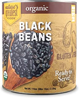 Nature's Greatest Foods, Organic Black Beans, Bulk, Ready to Serve, No. 10 Can, 110 OZ (6 LBS 14 OZ)