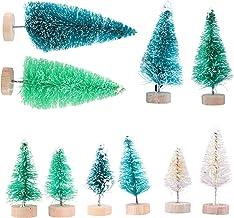 KESYOO 8pcs Snow Christmas Tree Mini Pine Trees Artificial Tabletop Desktop Xmas Tree with Wood Base for Christmas Table D...
