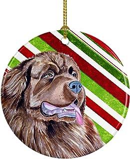 Caroline's Treasures LH9219-CO1 Newfoundland Candy Cane Holiday Christmas Ceramic Ornament, Multicolor