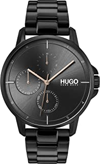 Hugo Boss Men'S Black Dial Ionic Plated Black Steel Watch - 1530127