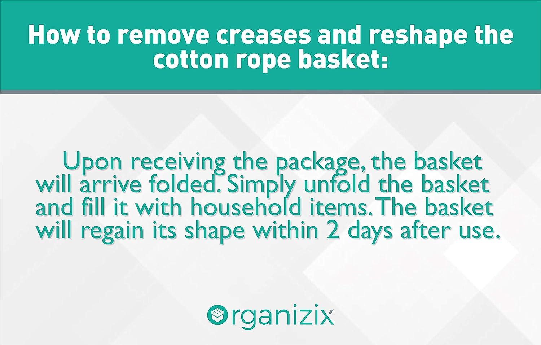Baby Nursery Laundry Basket Hamper Organizix Extra Large Cotton Rope Storage Basket Bin with Handles Toy Storage Basket White//Black 24L x 24W x 15H