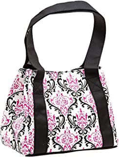 Fit & Fresh Women's Venice Insulated Lunch Bag, Stylish Adult Lunch Bag, Pink & Black Chandelier