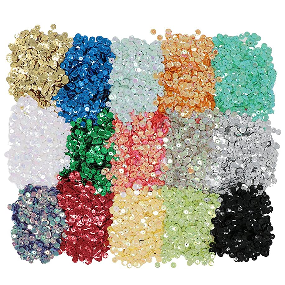 VAPKER 15 Colors 6mm Loose Sequins Rainbow Cup Sequin Bulk Iridescent Spangles Craft Supplies Assorted Colors for DIY Arts Crafts Making(150Gram)