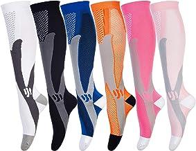 Compressie sokken voor mannen en vrouwen (6 paar) antislip lange buis ideaal voor hardlopen, verpleging, circulatie en her...