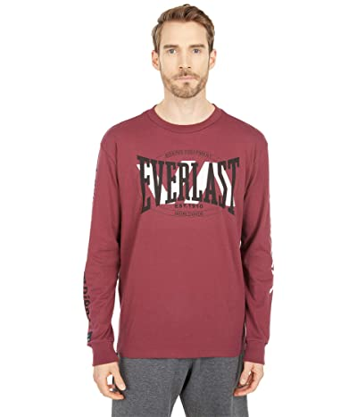 RVCA Everlast Stack Patch Long Sleeve Tee (Tawny Port) Men