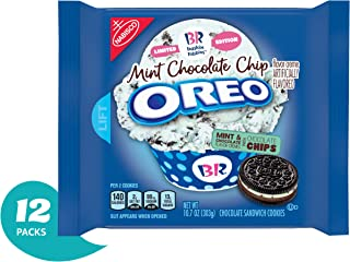 OREO Chocolate Sandwich Cookies, Mint Chocolate Chip Flavor Creme, Baskin Robbins Limited Edition, 12 Resealable Pack (10.7 oz)