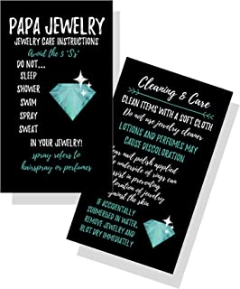 Jewelry Cleaning and Care Cards   Package of 50   Bling Teal Diamond   Jewelry Bling Queen Care Instructions