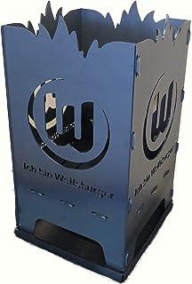 Design Feuerkorb Feuerschale aus Stahl VFL Wolfsburg Logo 2 40 x 40 x 80 cm