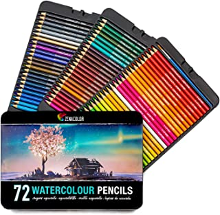 Zenacolor 72 Lápices de Colores Acuarelables, Numerados con Pincel en Caja Metálica Set de Ecolápices Acuarelables de Colores - Únicos y Diferentes - Coloreado para Adultos y Artistas