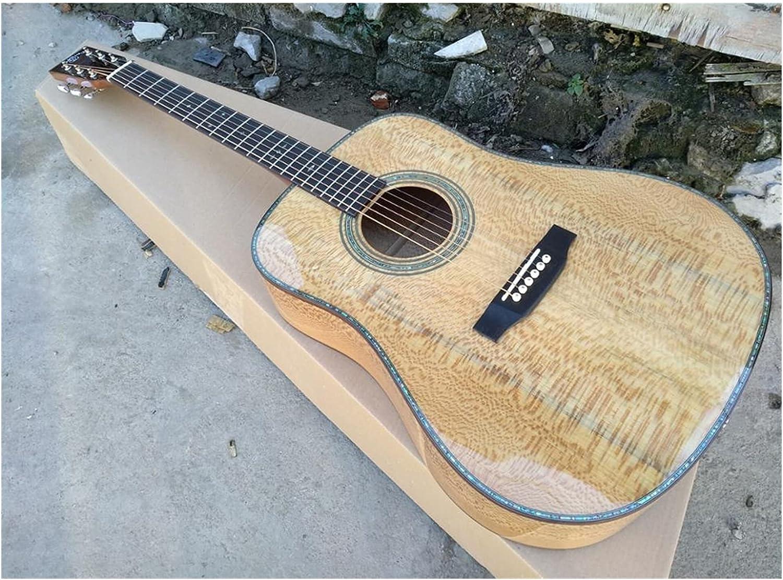 Guitarra Toda la Guitarra sólida Europea Sycamore Guitar Dreadnought 14 Frets 41 Pulgadas Sólido Acústica Guitarra Adecuada para Jugadores en Todas Las etapas. Guitarra de Madera AMINÍ
