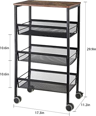 LIANTRAL Rustic Kitchen Cart with Wheels and Storage,3 Tier Metal Mesh Rolling Storage Cart, Mesh Storage Pantry Cart with Lo