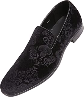 Bolano Prince Dress Shoes for Men Velvet Formal Loafers in Paisley and Embossed Designs Slip-on Slippers for Men The Original Smoking Mens Casual Shoes