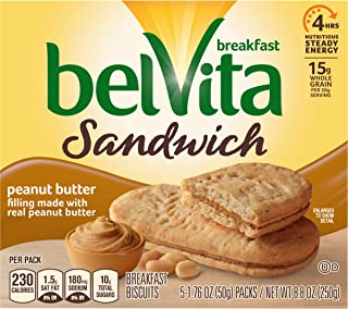 belVita Peanut Butter Sandwich Breakfast Biscuits, 5Count Box, 8.8 oz (Pack of 6)