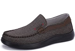 Men's Classic Casual Minimalist Fashion Loafers Round Toe Slip-on Wearable Breathable Canvas Shoes Low Top Daily Flats
