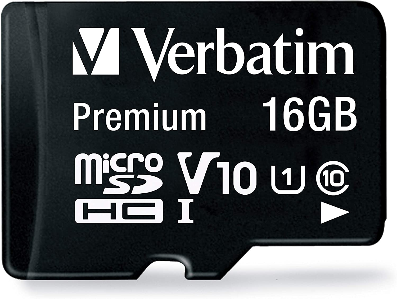 Verbatim 16GB Premium microSDHC Memory Card with Adapter, UHS-I V10 U1 Class 10, Black (44082)