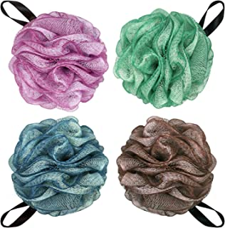 Large Loofahs Bath Sponge Shower Pouf Ball,Mesh Bath Mesh Pouf Mesh Bath and Shower Ball,75g/PCS and Pack of 4