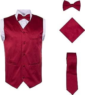 Vittorino Mens 4 Piece Formal Vest Set Combo with Tuxedo Vest Tie Bow Tie and Handkerchief