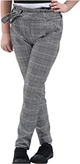 Janisramone Kids Girls New Check Hound Tooth Print Tie Waist Belted Paper Bag Cigarette Trousers Pants