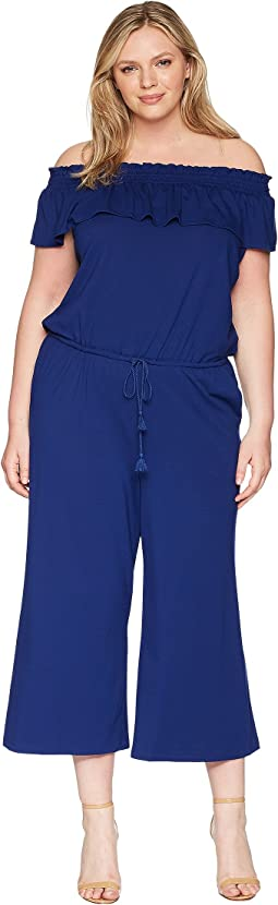 Plus Size Off the Shoulder Wide-Leg Jumpsuit