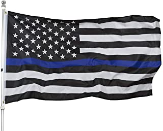 Best Thin Blue Line American Flag - 3x5 Blue Stripe American Matter Police Flags - USA Honoring Law Enforcement Officers Banner Flags Outdoor Indoor Review