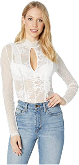 Long Sleeve Lace Cut Out Bodysuit
