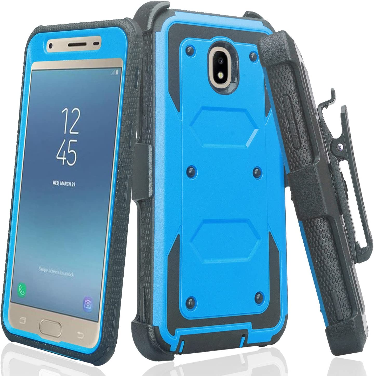 Galaxy J7 Star Case,J7 Crown Case,J7v 2nd Gen,J7 2018,J7 Refine Case Belt Clip Holster Kickstand Shock Proof [Built in Screen Protector] Phone Case Compatible for Samsung Galaxy J7 Crown Cases - Blue
