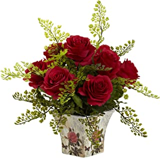 Nearly Natural 1379-RD Rose 7 Maiden Hair with Floral Planter, Red