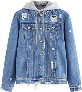 Women's Washed Distressed Button Front Hooded Jean Denim Jacket