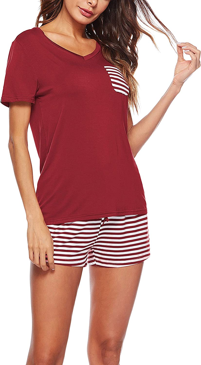 KKSSQUEEN Womens Pajama Set 2 Piece Short Sleeve V Neck Top and Striped Pants Sleepwear