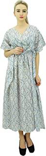 Phagun Womens Printed Cotton Maxi Kaftan Drawstring Summer Night Gown