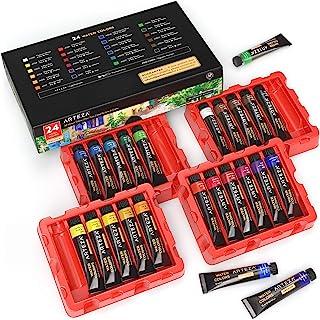 رنگ آبرنگ ARTEZA ، مجموعه ای از 24 رنگ / لوله (24x12ml / 0.4 اونس) با جعبه ذخیره سازی ، رنگدانه های غنی ، پر جنب و جوش ، رنگ های غیر سمی برای یک هنرمند حرفه ای ، نقاشان سرگرمی ، ایده آل برای تکنیک های آبرنگ