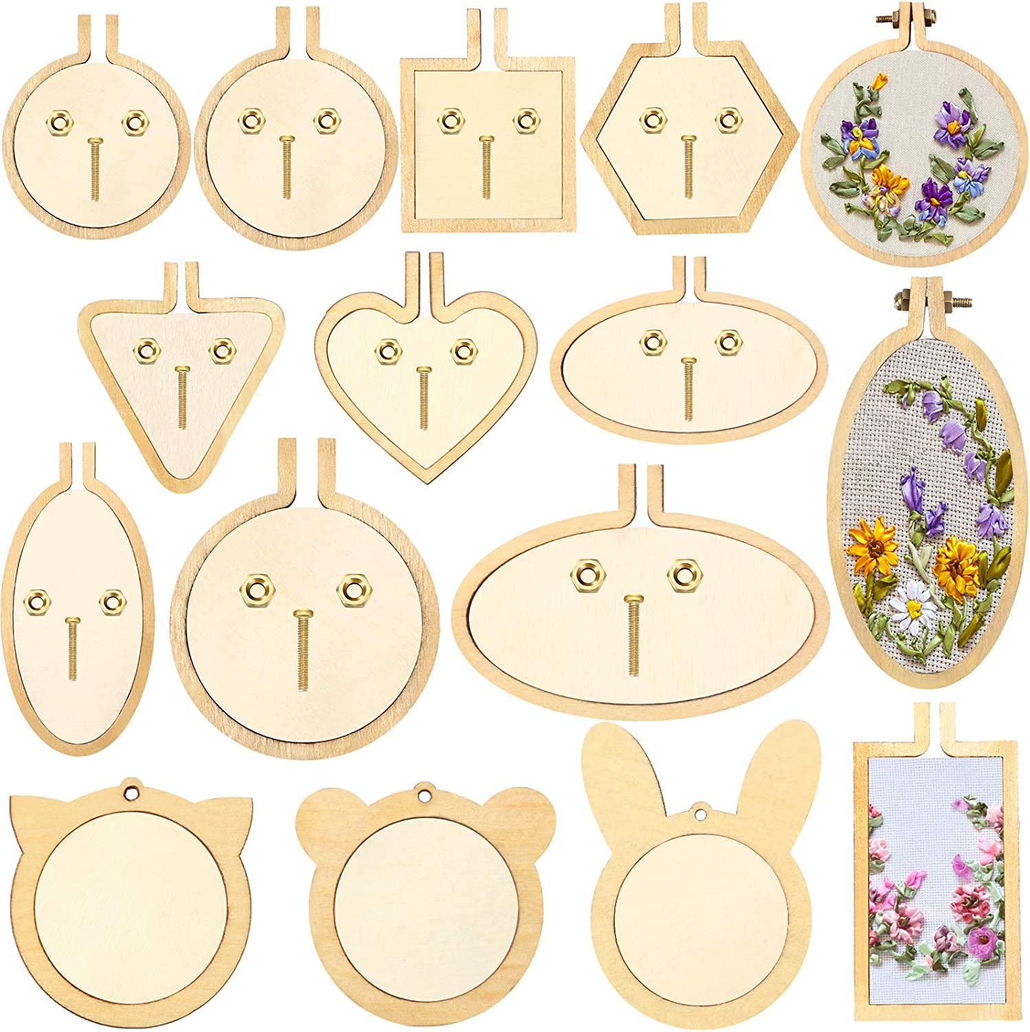 16 Sets Mini Embroidery Hoop Small Regular dealer Stitch M Popular product Crossing Wooden