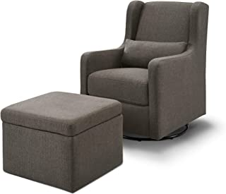Carter's by Davinci Adrian Swivel Glider with Storage Ottoman in Charcoal Linen   Water Repellent and Stain Resistant Fabric