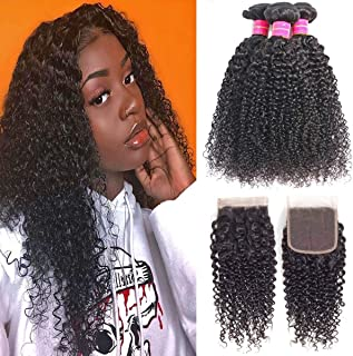 """Brazilian Kinky Curly Bundles with Closure(14 16 18 + 14""""Closure) 9A Premium Unprocessed Virgin Kinkys Curly Human Hair 3 Bundles with 4x4 Lace Closure Free Part Natural Black Color"""