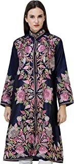 Exotic India Navy-Blue Long Jacket from Kashmir with Embroidered Multicolor Flowers All-Over