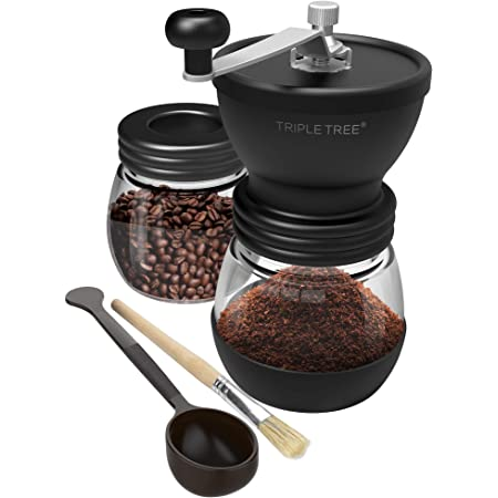 Manual Coffee Grinder with Ceramic Burrs, Hand Coffee Mill with Two Glass Jars(11oz each), Brush and 2 Tablespoon Scoop