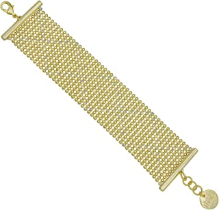 COLLECTION BIJOUX 100 18K Gold Plated 36mm Wide Perline Bracelet with Sparkle Finish Details, 7.5