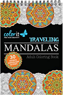Traveling Mandalas Adult Coloring Book - Features 30 Original Hand Drawn Designs Printed on Artist Quality Paper, Hardback Covers, Spiral Binding, Perforated Pages, Bonus Blotter
