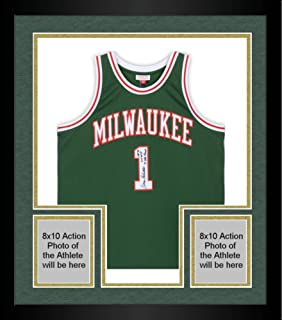 Framed Oscar Robertson Milwaukee Bucks Autographed Mitchell & Ness Green Replica Jersey with Multiple Inscriptions - Limited Edition #10 of 10 - Fanatics Authentic Certified