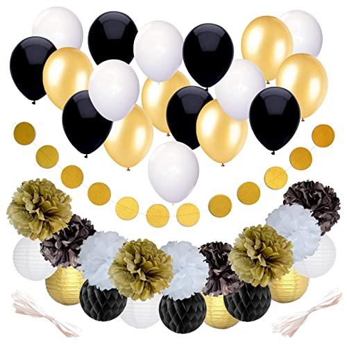 Black And Gold Party Decorations For Birthday Or Wedding Anniversary 37 Pack Make Him