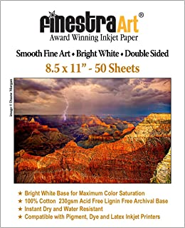 8.5x11 230gsm Smooth Fine Art Archive Bright White Double Sided 50 Sheets
