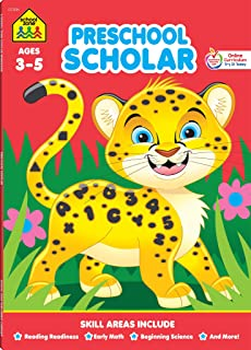 School Zone - Preschool Scholar Workbook - 64 Pages, Ages 3 to 5, Preschool to Kindergarten, Reading Readiness, Early Math, Science, ABCs, Writing, and More