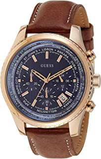 Men's W0500G1 Honey Brown Chronograph Watch with Blue Dial & Date Function