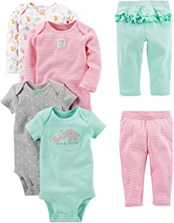 Girls' 6-Piece Bodysuits (Short and Long Sleeve) and Pants Set