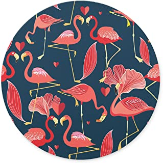 Newing Red Flamingo and Love Mouse pad, Natural Rubber Round Mouse Pad, Quality Creative Wrist-Protected Wristbands Personalized Desk, Round Mouse Pad